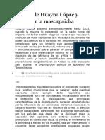 Muerte de Huayna Cápac y Lucha Por La Mascapaicha