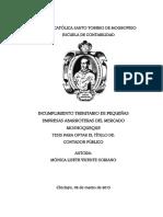 INCUMPLIMIENTO TRIBUTARIO DE PEQUEÑAS EMPRESAS ABARROTERAS DEL MERCADO MOSHOQUEQUE TESIS PARA OPTAR EL TÍTULO DE