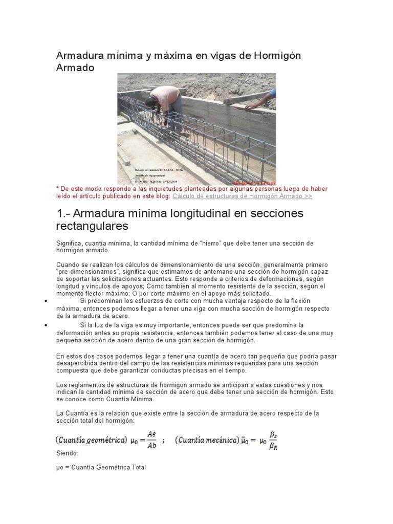 Armadura Mínima y Máxima en Vigas de Hormigón Armado - photo#19