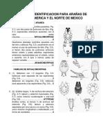 Claves de Identificacion Para Arañas de Norte America y El Norte de Mexico
