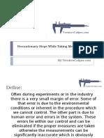 Precautionary Steps While Taking Measurements