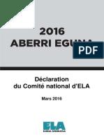 ABERRI EGUNA 2016 - Déclaration Du Comité National d'ELA