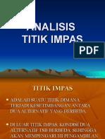 Ekonomi Teknik 5 Analisis Titik Impas