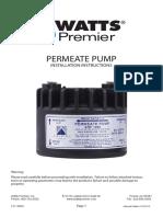 Watts Premier Permeate Pump Installation