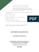 Manifesto Dos Estudantes Da Universidade de Coimbra a Opiniao Ilustrada No Pais