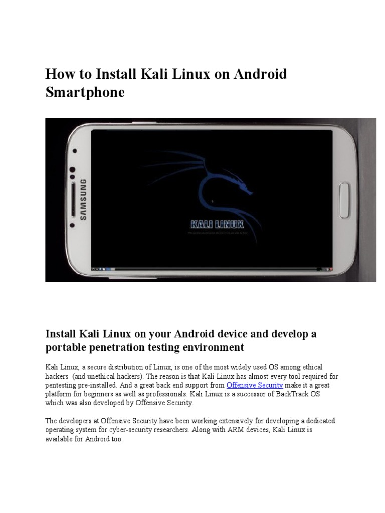 How To Install Kali Linux Os On Android Install Kali Linux