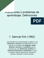 DEFICICIONESAlteraciones o Problemas de Aprendizaje