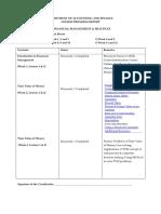 FM MBA Course Progress Report