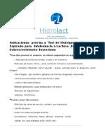Indicaciones Previas a Test de Hidrogeno Espirado Para Intolerancia a Lactosa Y Sobrecrecimiento Bacteriano