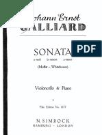 Galliard - Sonata in a Minor for Cello and Piano c1730 Moffat Score