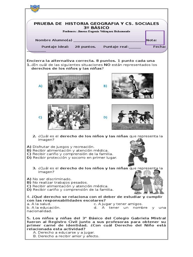 Prueba Derechos y Deberes Tercero básico - photo#43