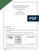 Computer Science SSC II Paper I