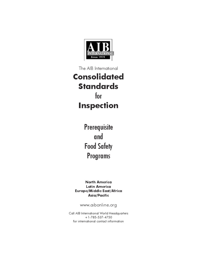 Aib Prerquiste Program Food Safety Audit