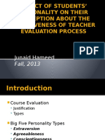 IMPACT OF STUDENTS' PERSONALITY ON THEIR  PERCEPTION ABOUT THE EFFECTIVENESS OF TEACHER EVALUATION PROCES