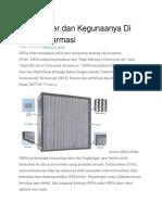HEPA Filter Dan Kegunaanya Di Industri