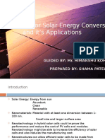 Nanomaterials for Solar Energy Conversion and Applications