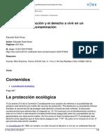 El Recurso de Protección y El Derecho a Vivir en Un Medioambiente