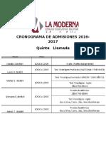 Cronograma de Admisiones 2016