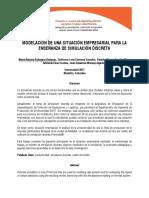 Modelacion de Una Situacion Empresarial Para La Enseñanza de Simulacion Discreta