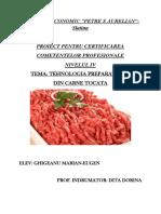 Tehnologia de obtinere a preparatelor din carne tocata-ATESTAT