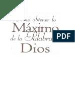 Como Obtener Lo Maximo de La Palabra de Dios Macarthur