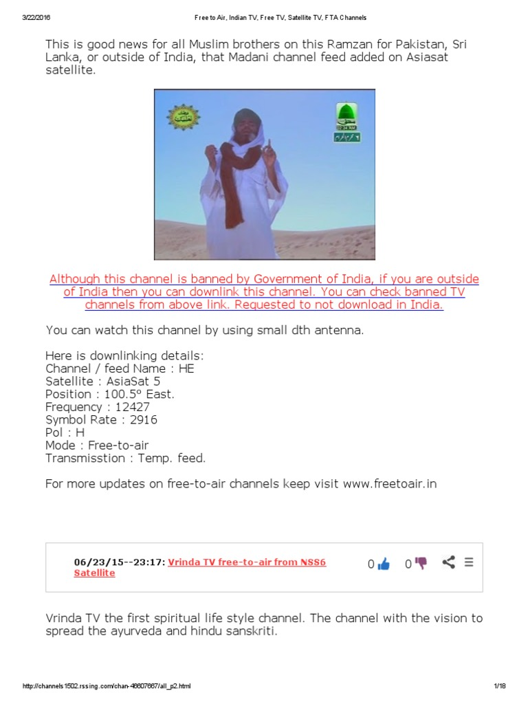 Free to Air, Indian TV, Free TV, Satellite TV, FTA Channels pdf
