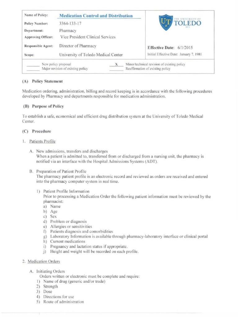 Medication Control Distribution Univ Toledo | Pharmacy