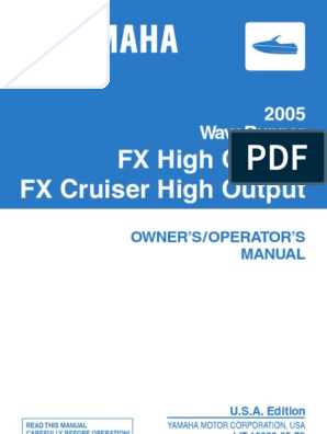 2005 Yamaha Waverunner FX High Output Operator manual
