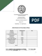 Reporte Porcentaje en Masa
