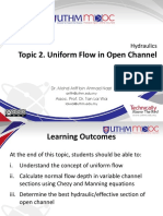 Hydraulics Topic 2 Uniform Flow in Open Channel