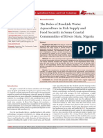 The Roles of Brackish Water Aquaculture in Fish Supply and Food Security in Some Coastal Communities of Rivers State, Nigeria