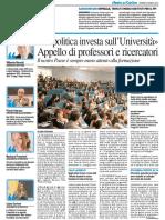 """""""La politica investa sull'Università"""" l'appello di professori e ricercatori - Il Resto del Carlino del 22 marzo 2016"""