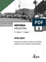 M. E. Alonso - E. C. Vázquez, Historia Argentina 1976-2013. Ed...