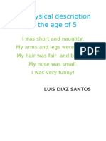 My Physical Description at the Age of LUIS