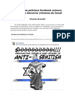 Empresa policíaca facebook censura dibujo que denuncia crímenes de Israel