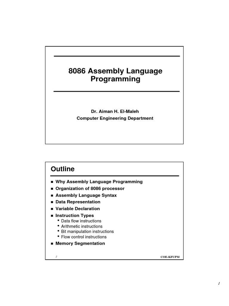 8086 Assembly Language by Dr  Aiman H  El-Maleh {Zer07