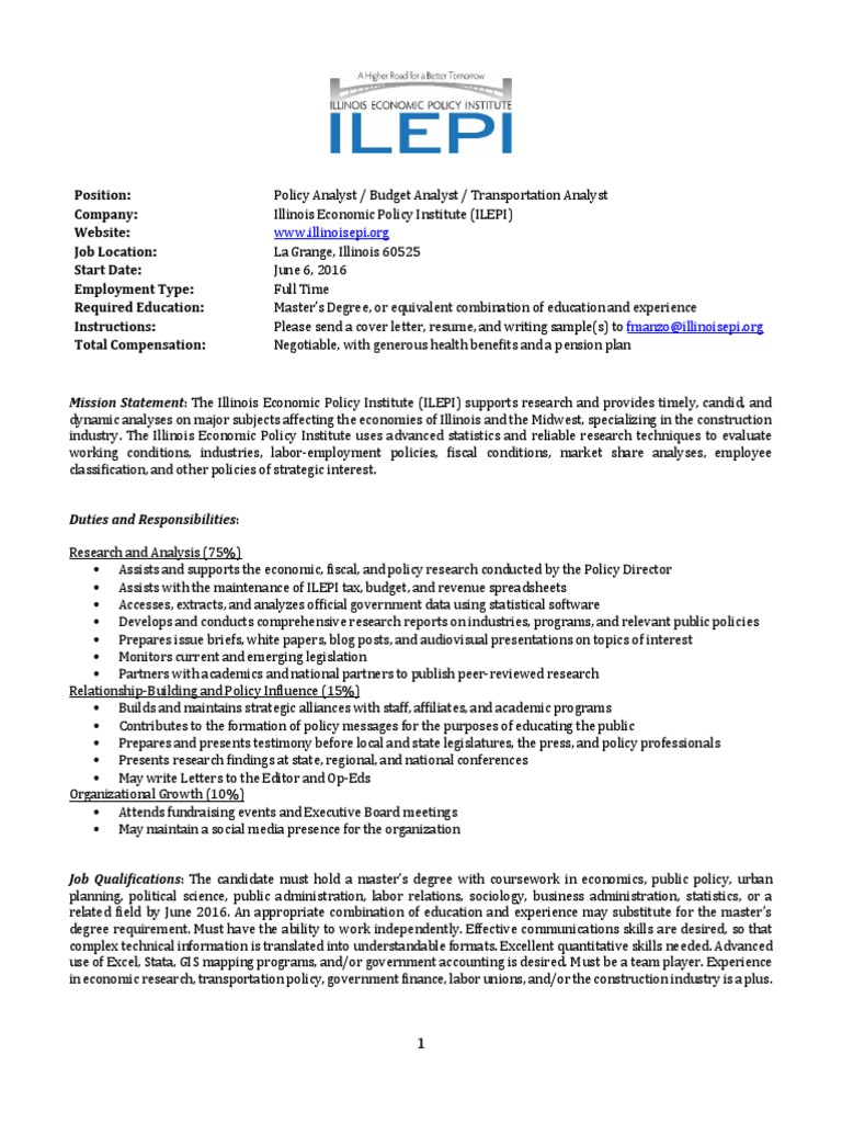 ILEPI Policy Analyst | Think Tank | Policy