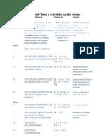 Calendario de Temas y Actividades para los Jóvenes