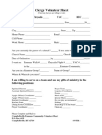 New Clergy Volunteer Sheet