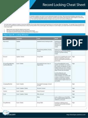 Record Locking Cheatsheet | Salesforce Com | Databases