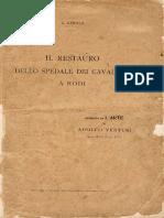 Il Restauro Dello Spedale Dei Cavalieri a Rodi (Gerola G, Roma 1914)