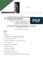 A Defesa Do Réu Na Disciplina Do Código de Processo Civil Brasileiro