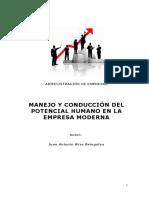 Monografia Manejo y Conduccion Del Potencial Humano en La Empresa Moderna