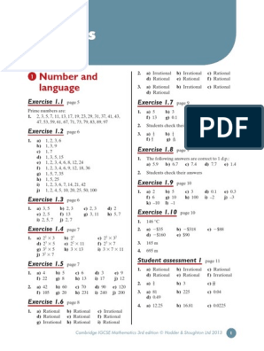IGCSE Mathematics Textbook Answers | Numbers | Physics