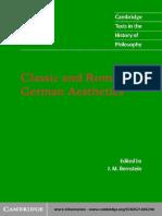 (Cambridge Texts in the History of Philosophy) J. M. Bernstein-Classic and Romantic German Aesthetics -Cambridge University Press (2003)