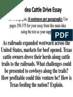 main idea cattle drive essay