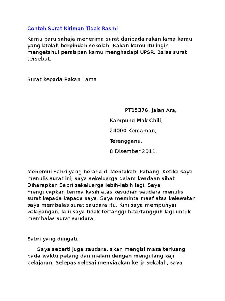 Contoh Format Surat Kiriman Tidak Rasmi Pmr Erectronic