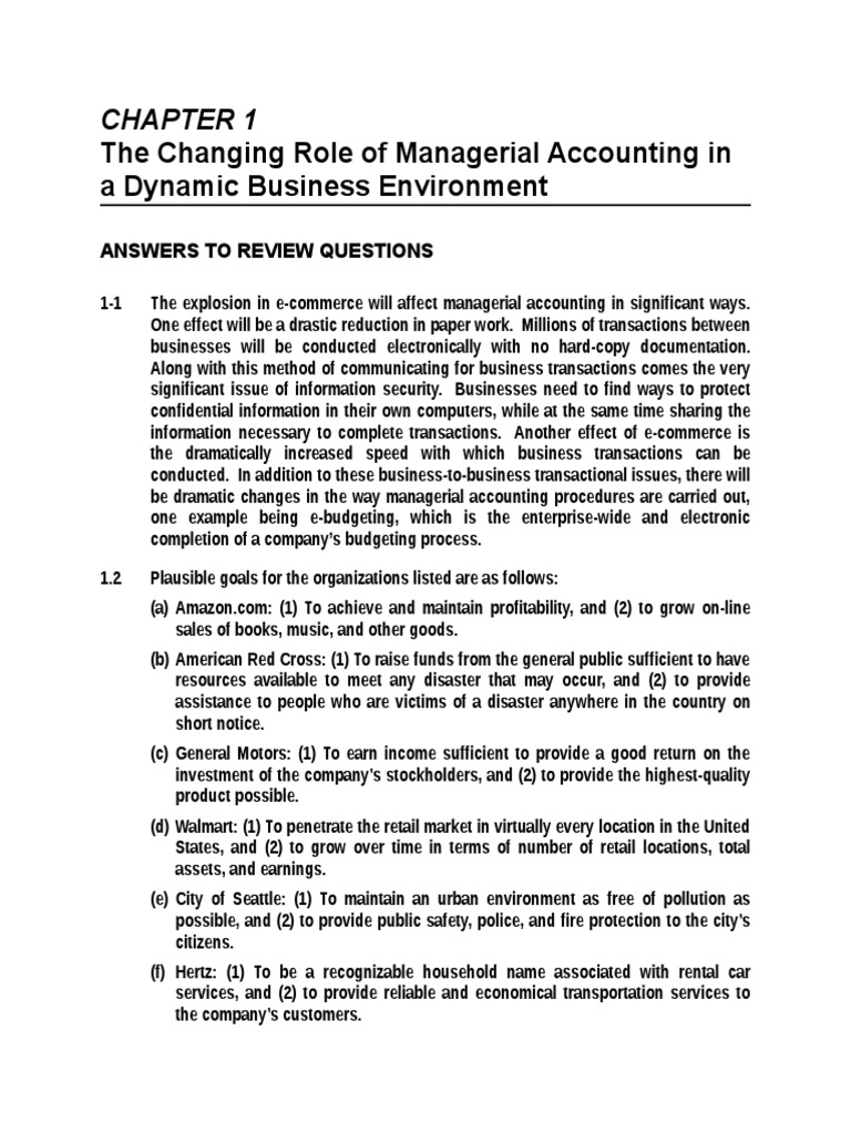 advanced management accounting exercise answers 5e