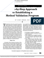 A Step-By-Step Approach to Establishing a Method Validation Program