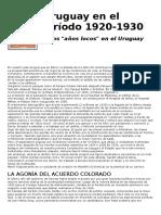 Años Locos en Uruguay y El Uruguay en 1930 Sh y Se